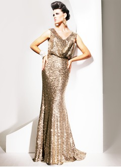 Sheath/Column V-neck Sweep Train Sequined Evening Dress With Ruffle