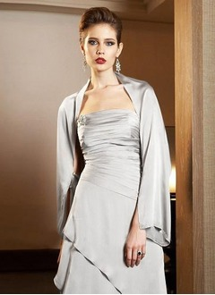 Long Sleeve Satin Chiffon Special Occasion Wrap