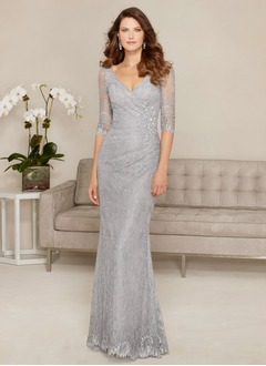 Sheath/Column V-neck Sweep Train Lace Evening Dress With Beading