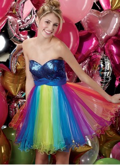 A-Line/Princess Sweetheart Short/Mini Tulle Charmeuse Homecoming Dress With Sash Beading