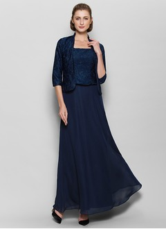 A-Line/Princess Square Neckline Floor-Length Chiffon Lace Mother of the Bride Dress With Appliques Lace