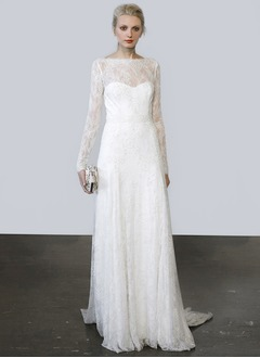 A-Line/Princess Scoop Neck Sweep Train Lace Wedding Dress
