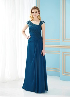 A-Line/Princess Floor-Length Chiffon Mother of the Bride Dress With Ruffle Beading Appliques Lace