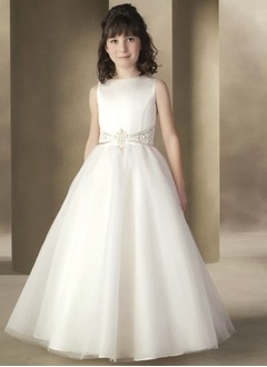A-Line/Princess Scoop Neck Floor-Length Satin Tulle Flower Girl Dress With Beading