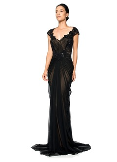 Sheath/Column V-neck Sweep Train Tulle Evening Dress With Ruffle Lace