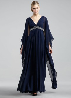 Empire V-neck Floor-Length Chiffon Evening Dress With Beading