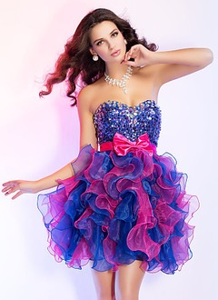 A-Line/Princess Strapless Sweetheart Short/Mini Organza Prom Dress With Beading Bow(s) Cascading Ruffles