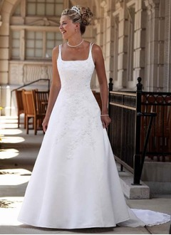 A-Line/Princess Square Neckline Detachable Satin Wedding Dress With Embroidered Lace Beading Flower(s)