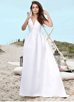 A-Line/Princess V-neck Court Train Satin Wedding Dress With Lace