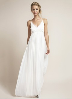 Empire V-neck Floor-Length Chiffon Wedding Dress With Ruffle
