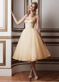 A-Line/Princess Strapless Sweetheart Tea-Length Organza Satin Wedding Dress