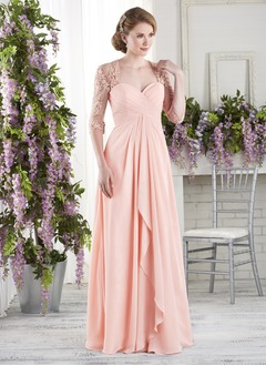A-Line/Princess Sweetheart Floor-Length Chiffon Lace Evening Dress With Ruffle Cascading Ruffles