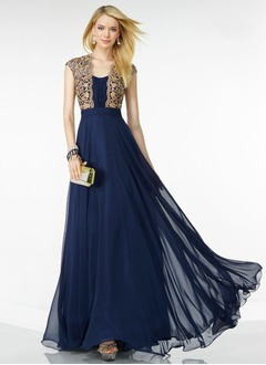 A-Line/Princess Scoop Neck Floor-Length 30D Chiffon Evening Dress With Embroidered Ruffle Beading