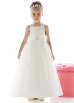 A-Line/Princess Strapless Floor-Length Satin Tulle Flower Girl Dress With Sash