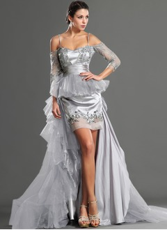 A-Line/Princess Sweetheart Detachable Tulle Charmeuse Lace Prom Dress With Lace Beading Sequins