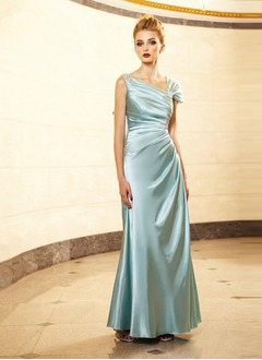 A-Line/Princess V-neck Floor-Length Charmeuse Mother of the Bride Dress With Ruffle Lace Beading