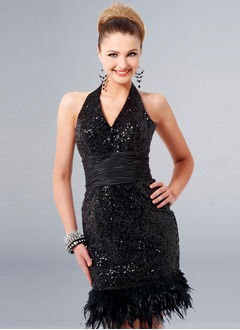 Sheath/Column Halter Knee-Length Sequined Prom Dress With Ruffle Feather