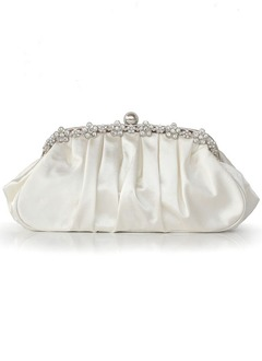 Fashional Silk With Ruffles/Rhinestone Clutches