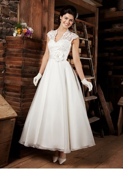A-Line/Princess V-neck Ankle-Length Organza Wedding Dress With Lace Flower(s)