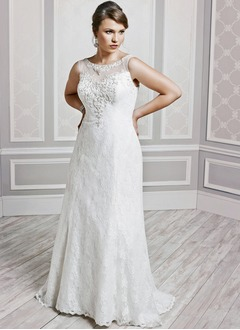 A-Line/Princess Scoop Neck Chapel Train Lace Wedding Dress With Beading