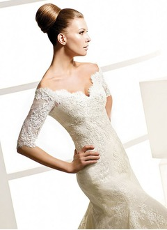 Trumpet/Mermaid Off-the-Shoulder Chapel Train Satin Lace Wedding Dress With Beading