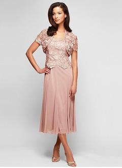 A-Line/Princess Square Neckline Tea-Length Chiffon Lace Mother of the Bride Dress