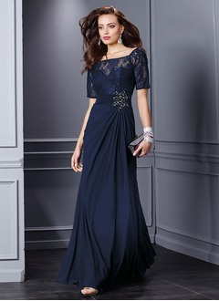 A-Line/Princess Off-the-Shoulder Sweep Train Chiffon Lace Mother of the Bride Dress With Beading Appliques Lace