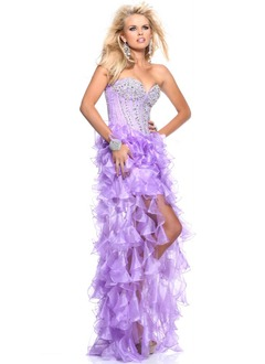 A-Line/Princess Strapless Sweetheart Asymmetrical Organza Prom Dress With Beading Cascading Ruffles