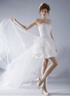A-Line/Princess Strapless Sweetheart Detachable Tulle Lace Wedding Dress With Beading Appliques Lace