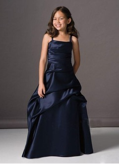 A-Line/Princess Strapless Floor-Length Satin Flower Girl Dress With Ruffle (01005009755)