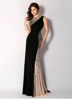 Trumpet/Mermaid Scoop Neck Court Train Chiffon Tulle Evening Dress With Beading
