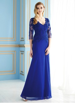 A-Line/Princess V-neck Floor-Length Chiffon Tulle Mother of the Bride Dress With Appliques Lace