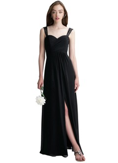 A-Line/Princess Sweetheart Floor-Length Chiffon Lace Bridesmaid Dress With Ruffle Split Front