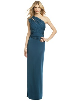 Sheath/Column One-Shoulder Floor-Length Chiffon Prom Dress With Ruffle