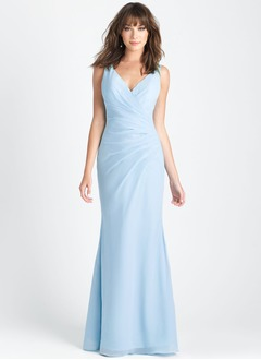 Trumpet/Mermaid V-neck Floor-Length Chiffon Lace Bridesmaid Dress With Ruffle