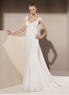 Sheath/Column Sweetheart Court Train Chiffon Wedding Dress With Ruffle Lace