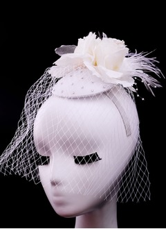 Classic/Elegant Net Yarn/Feather Fascinators