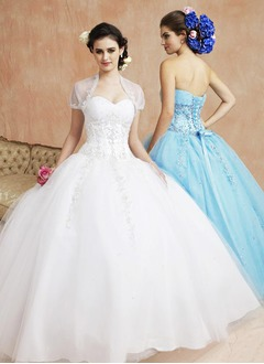 Ball-Gown Sweetheart Floor-Length Tulle Quinceanera Dress With Ruffle Lace Beading Sequins