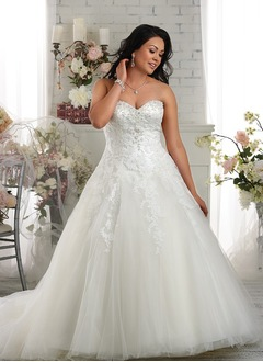 Ball-Gown Strapless Sweetheart Chapel Train Tulle Wedding Dress With Beading Appliques Lace