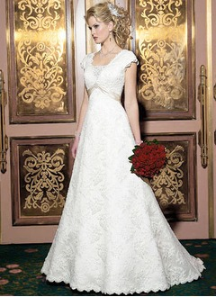 A-Line/Princess Square Neckline Court Train Satin Lace Wedding Dress With Sash Bow(s)