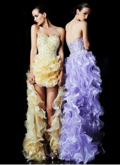 A-Line/Princess Sweetheart Asymmetrical Organza Charmeuse Prom Dress With Lace Beading Sequins Cascading Ruffles