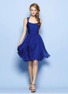 A-Line/Princess Square Neckline Knee-Length Lace 30D Chiffon Prom Dress With Ruffle