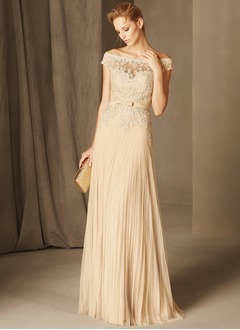 A-Line/Princess Off-the-Shoulder Sweep Train Tulle Evening Dress With Lace