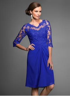 Sheath/Column V-neck Knee-Length Chiffon Lace Mother of the Bride Dress With Ruffle