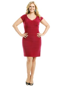Sheath/Column V-neck Knee-Length Jersey Mother of the Bride Dress With Ruffle Pleated