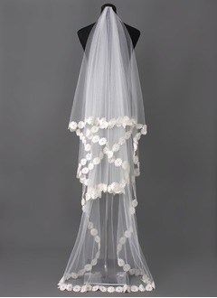 One-tier Chapel Bridal Veils With Lace Applique Edge (00605003681)