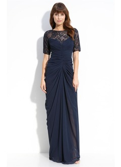 Sheath/Column Scoop Neck Sweep Train Chiffon Lace Mother of the Bride Dress With Ruffle Beading Sequins