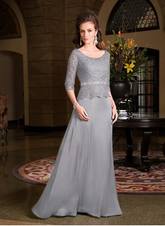 A-Line/Princess Scoop Neck Floor-Length Lace Satin Chiffon Mother of the Bride Dress With Beading