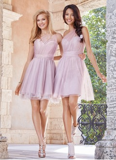 A-Line/Princess One-Shoulder Short/Mini Tulle Bridesmaid Dress With Ruffle