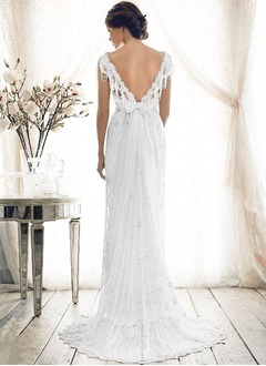 Sheath/Column V-neck Sweep Train Lace Wedding Dress With Beading Bow(s)